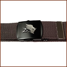 BLACK LACQUER COATED MILITARY BUCKLE & WEB BELT