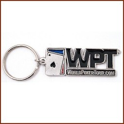RECT. DIE CUT PEWTER KEY CHAIN W/COLORFILL