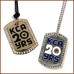 DOG TAG LARGE ICED OUT EDGE WITH COLOR