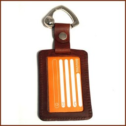 DEBOSSED LEATHER LOGO LUGGAGE TAG