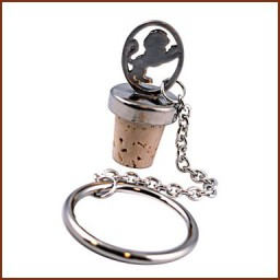 BOTTLE STOPPER W/RING AND CHAIN