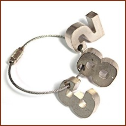 PEWTER (3D)NUMBERS ON CABLE KEY HOLDER