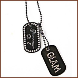 DOG TAG DOUBLE ICED OUT GLAM