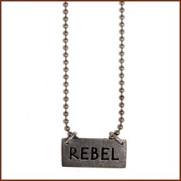 RECTANGULAR CHARM NECKLACE W/ BALL CHAIN