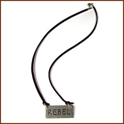 RECTANGULAR CHARM NECKLACE ON  CORD