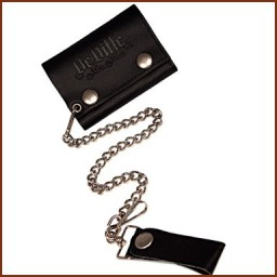 TRI FOLD LEATHER CHAIN WALLET